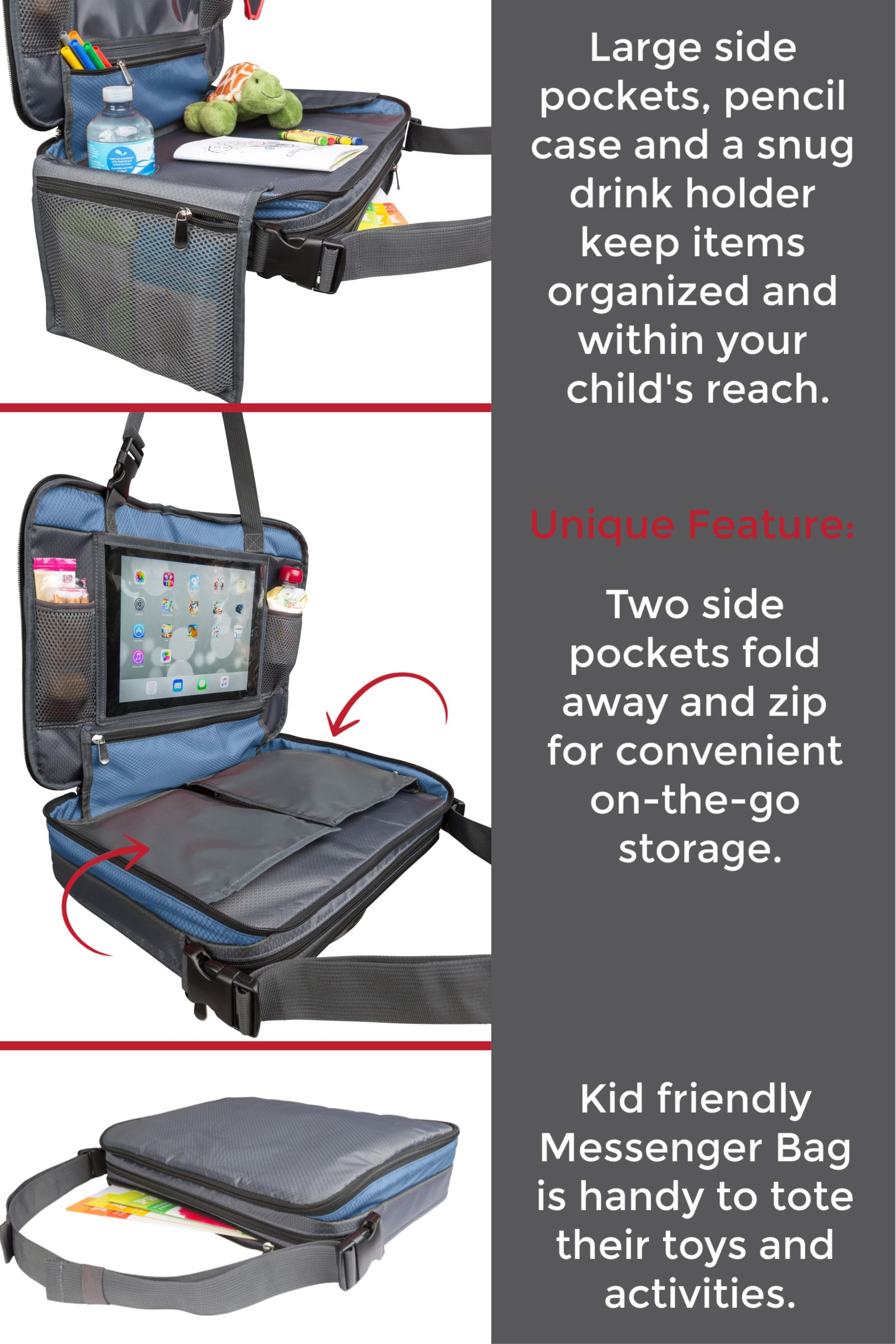 kids car seat travel tray with fold in side pockets