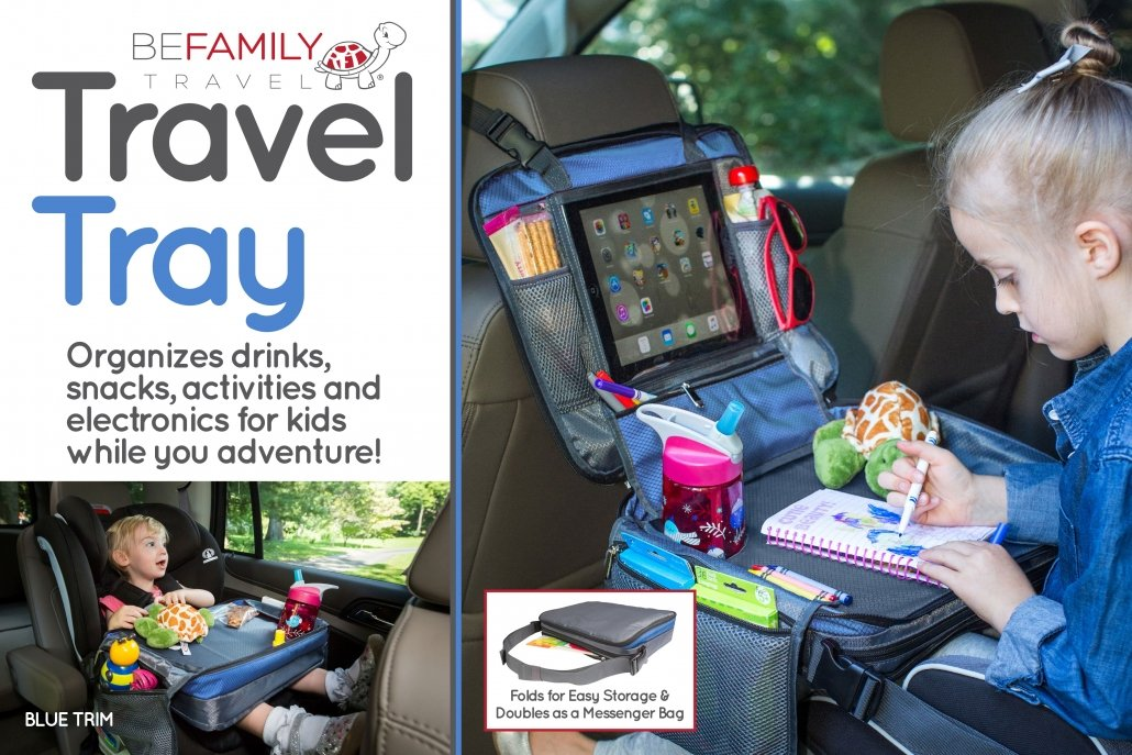 Blue Car Seat travel tray for kids