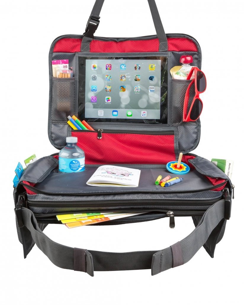 "BE Family Travel - Kids Car Seat Travel Lap Tray - Toddler Snack and Play Tray - Child Messenger Bag - Car Backseat Organizer with Unique Fold-in ""No Need to Unload Again"" Side Pockets with Zipper."