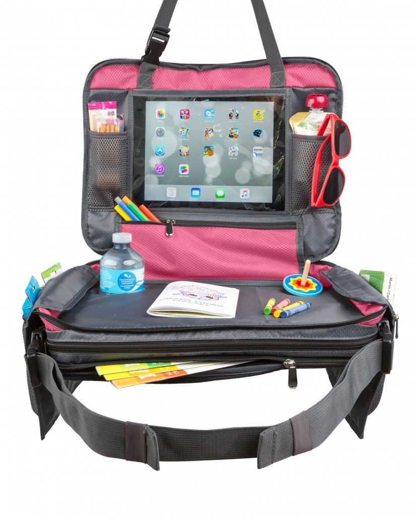 Pink car seat travel tray for kids