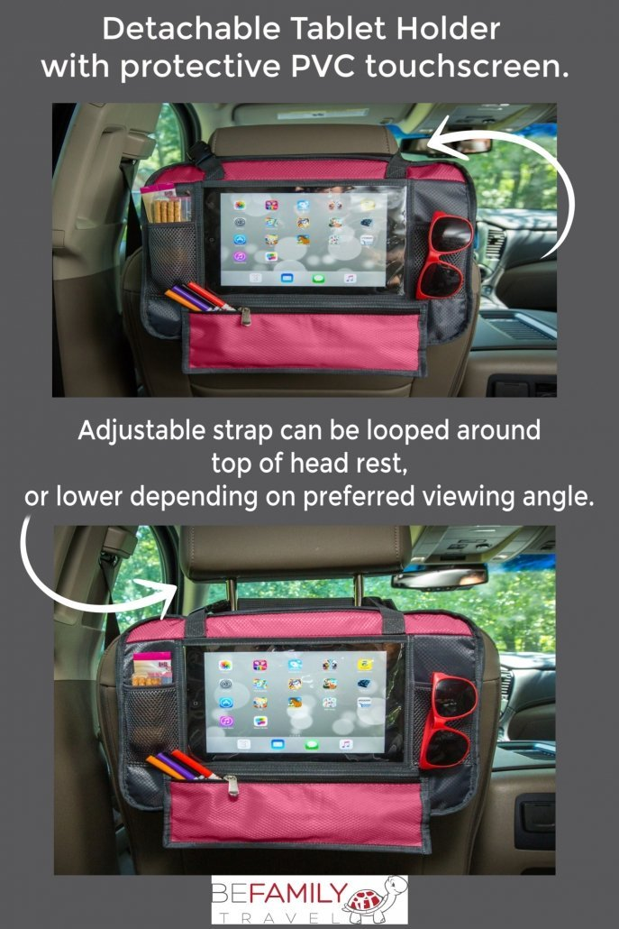 pink car seat seat travel tray with tablet holder