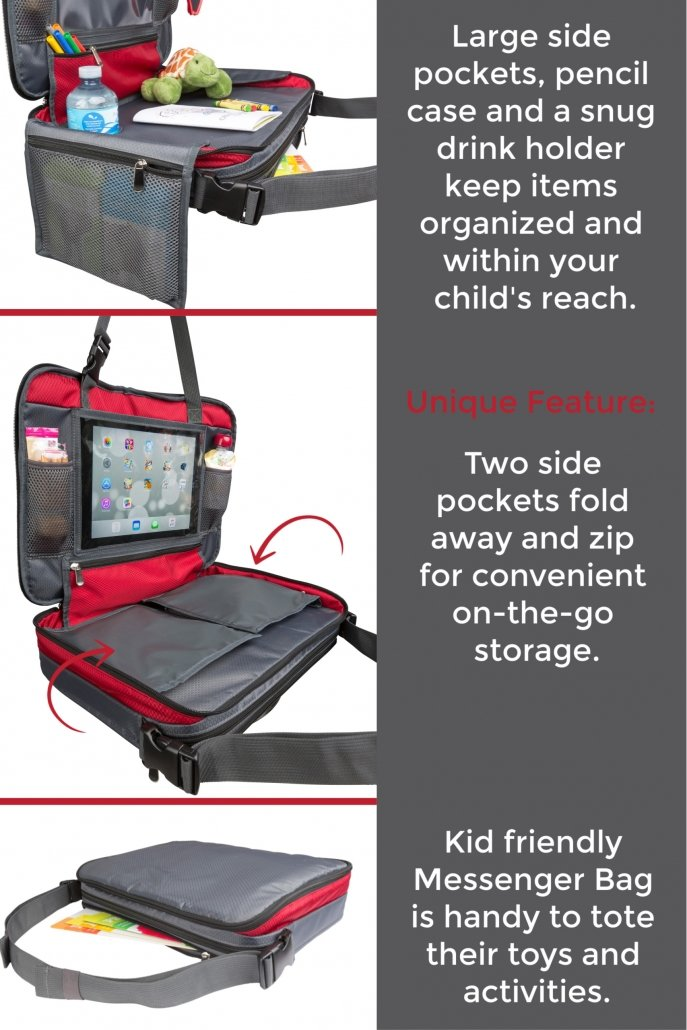Kids Car Seat Travel Tray converts easily to a Stylish Messenger Bag for Kids