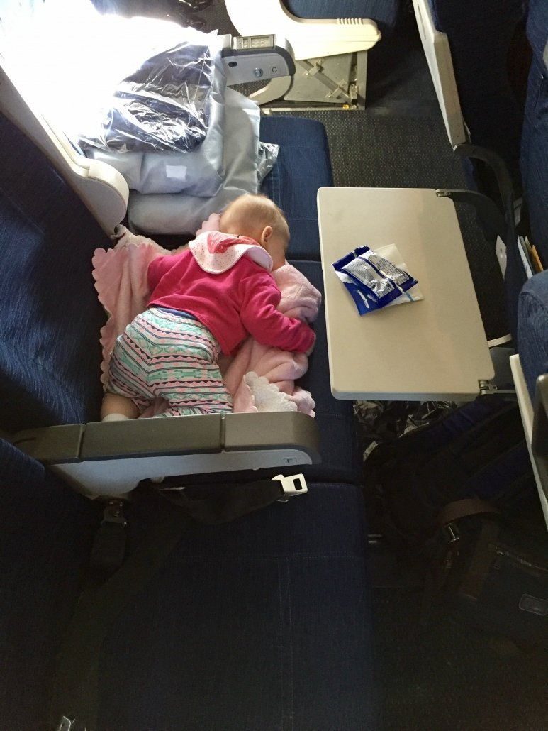 Airplane flying with a baby