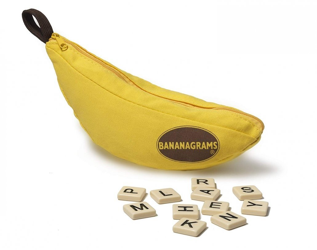 Bananagrams travel game is perfect for family vacations.