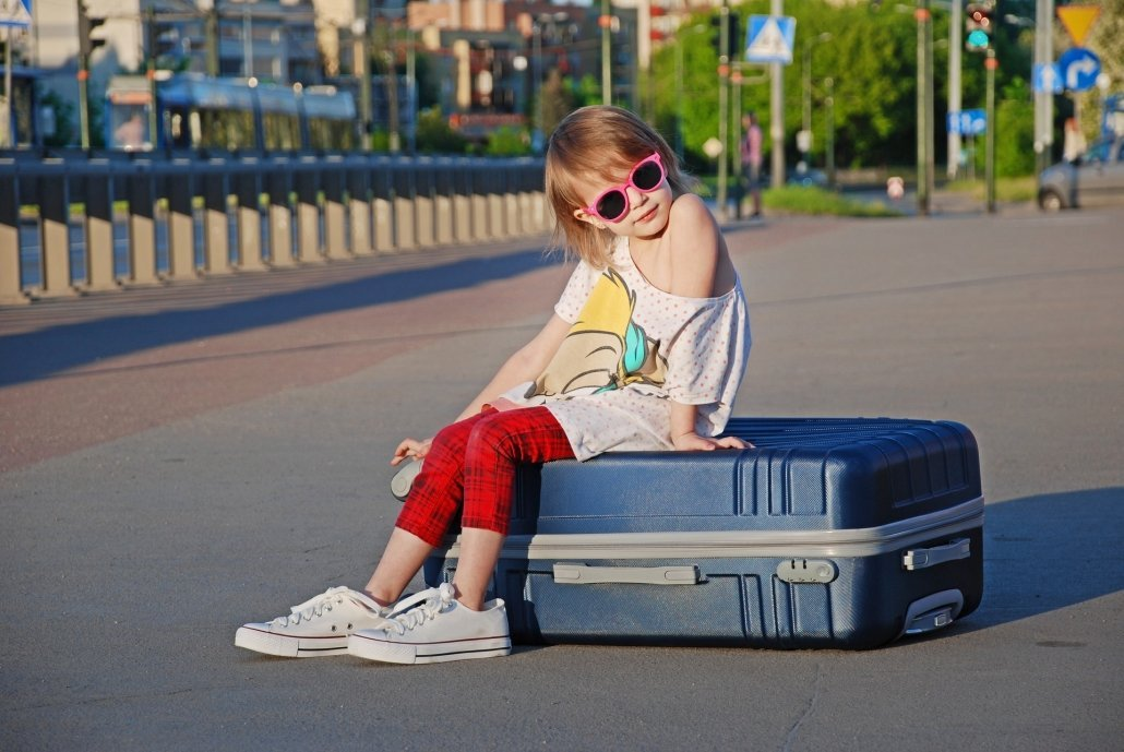 Airport security with children suitcase