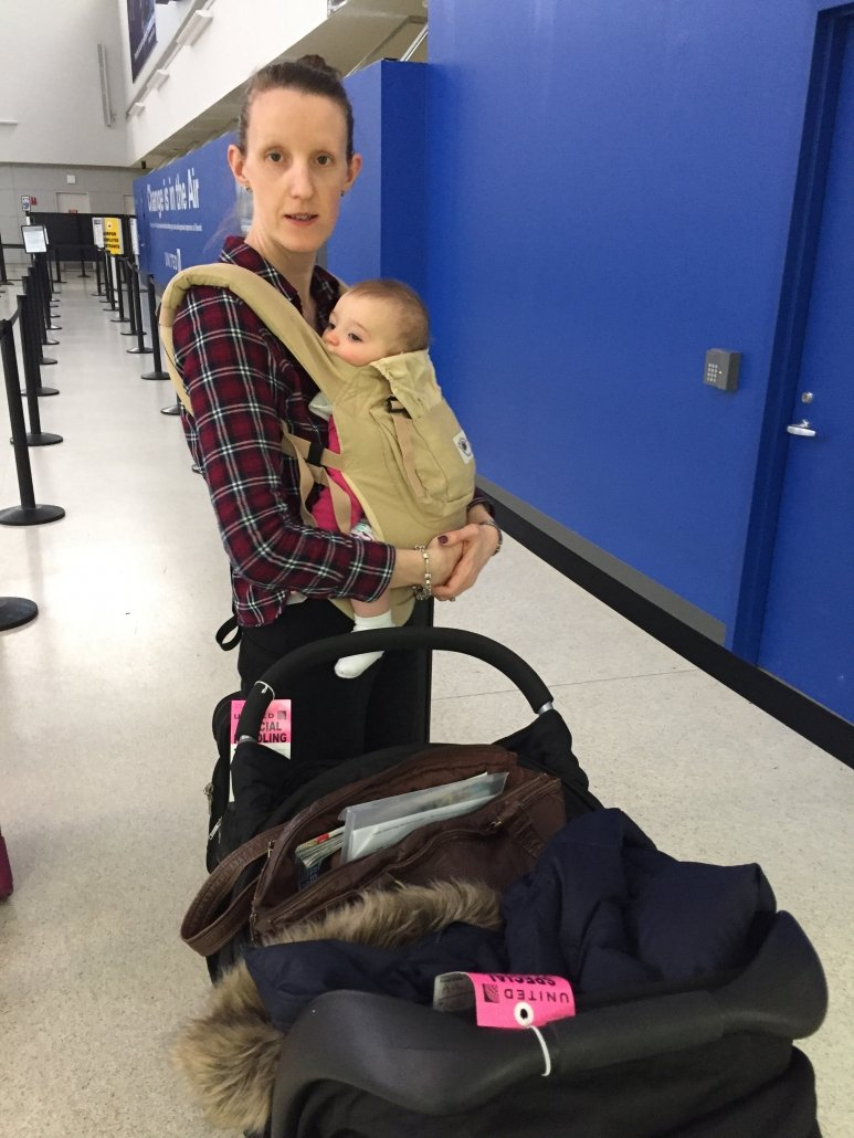 flying with infant travel system