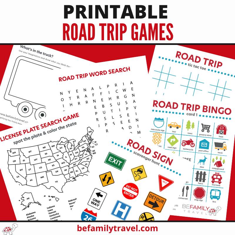 Printable Road Trips Games for Kids
