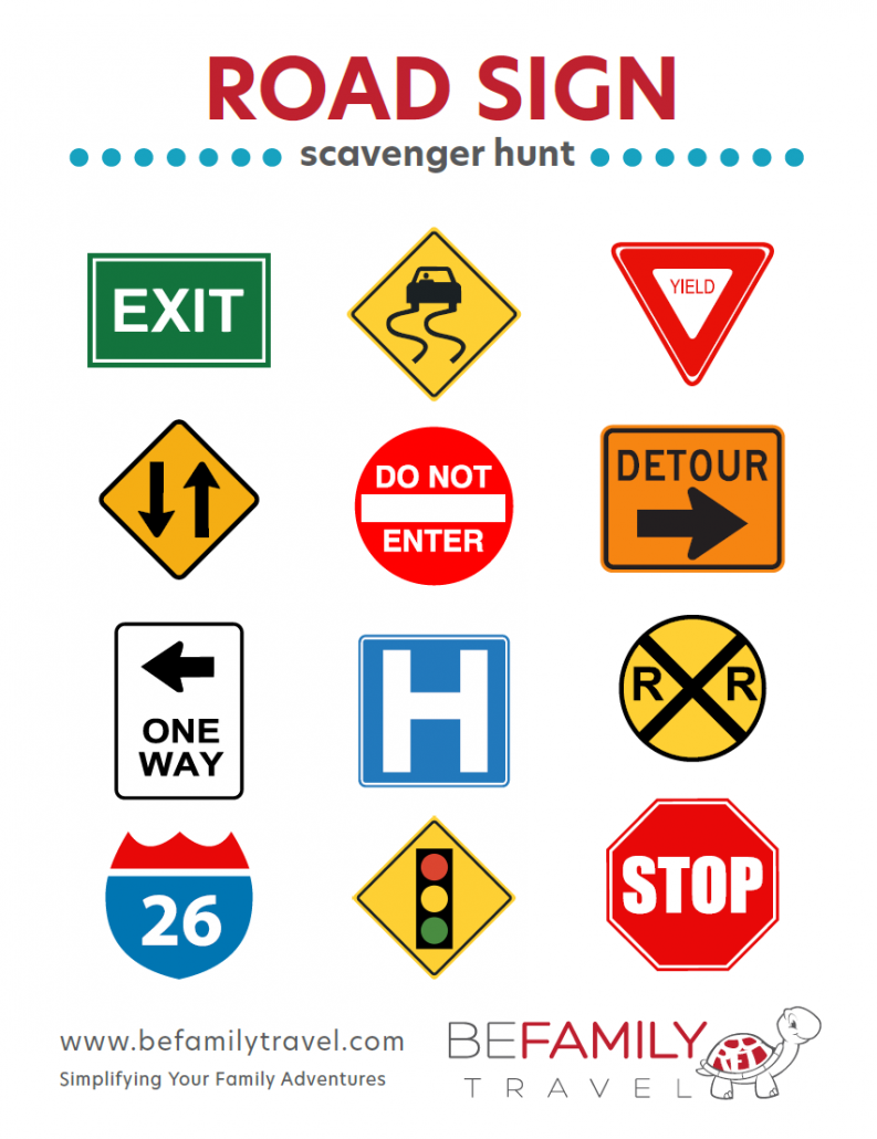 Printable Road Sign Scavenger Hunt Game