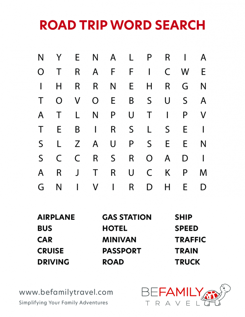 Printable Road Trip Word Search Game
