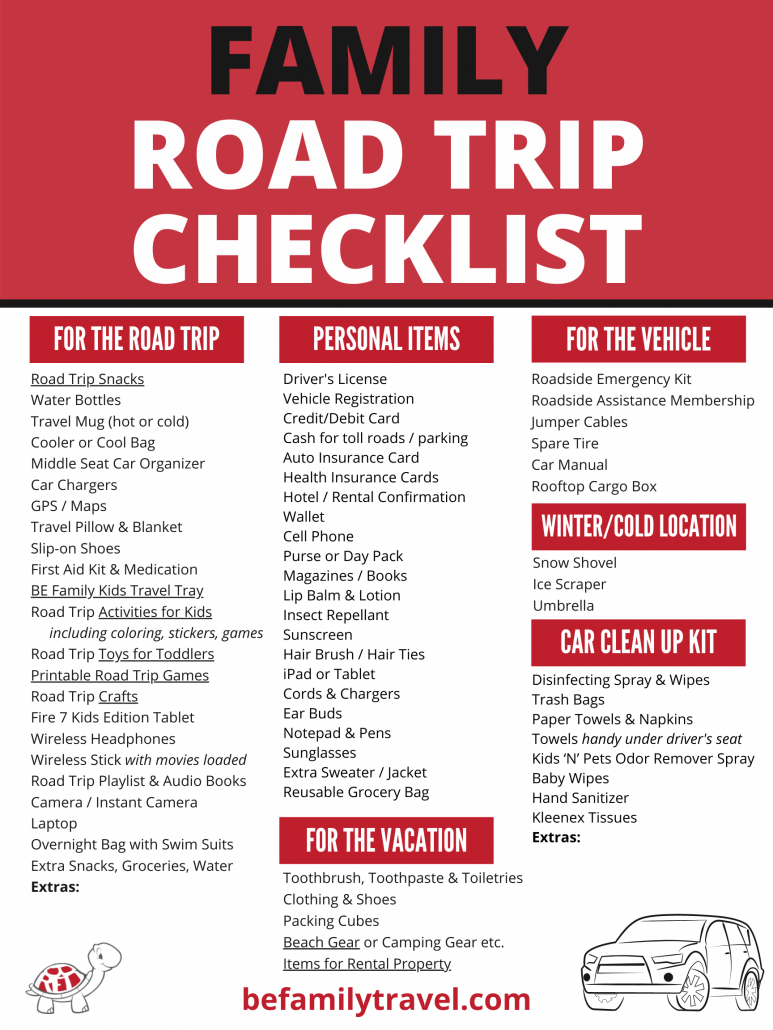 Family Road Trip Checklist