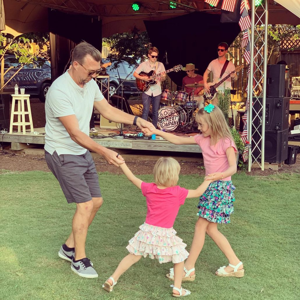 Dad and Kids Dancing to Live Music in Duck NC