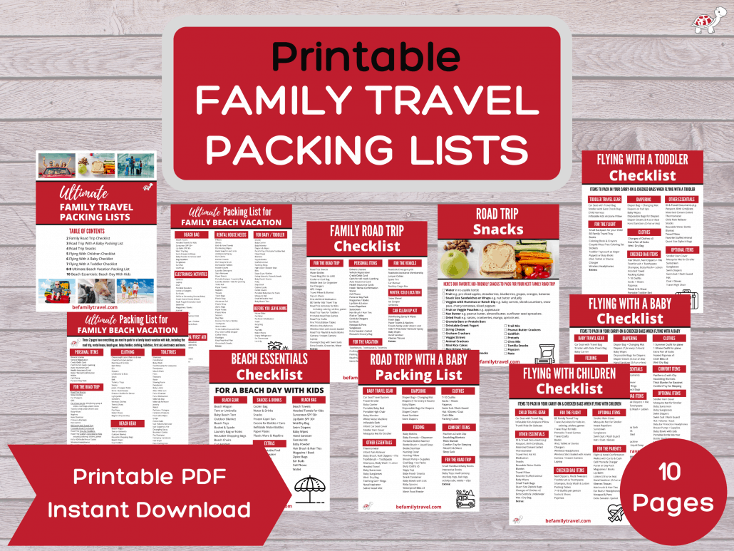 family travel packing lists