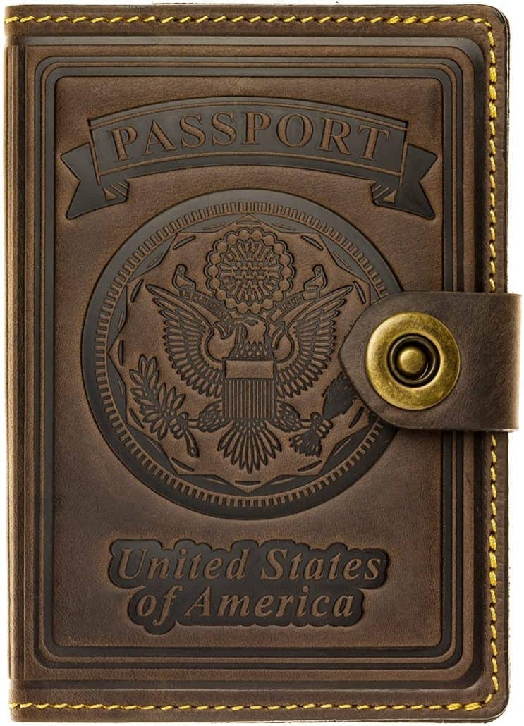 leather passport holder is best gift for dads that travel